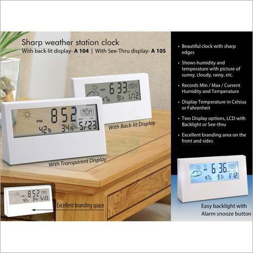 A104 – Sharp Weather Station Clock with Backlight