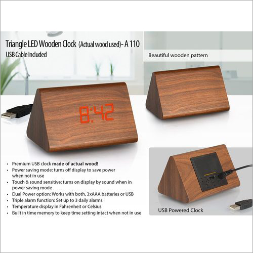 A110 – Triangle LED Wooden Clock (Actual Wood Used)