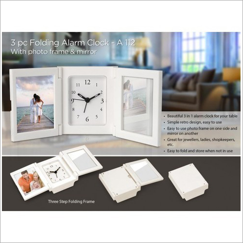 A112 – 3 Pc Folding Alarm Clock With Photo Frame And Mirror