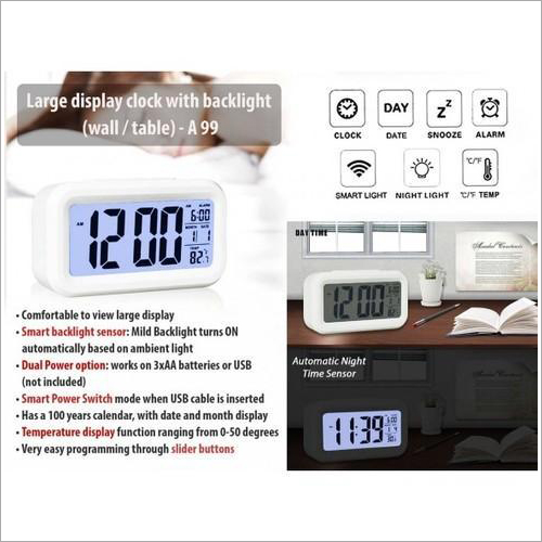 A99 – Large Display Clock with Backlight (Wall & Table)