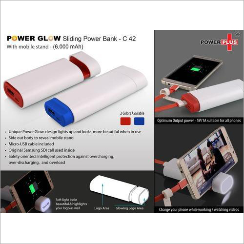 Power glow Sliding Power Bank With Mobile Stand (6,000) – C42