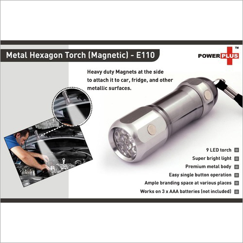 Hexa Metal Torch ( Magnetic) (9 LED) – E110