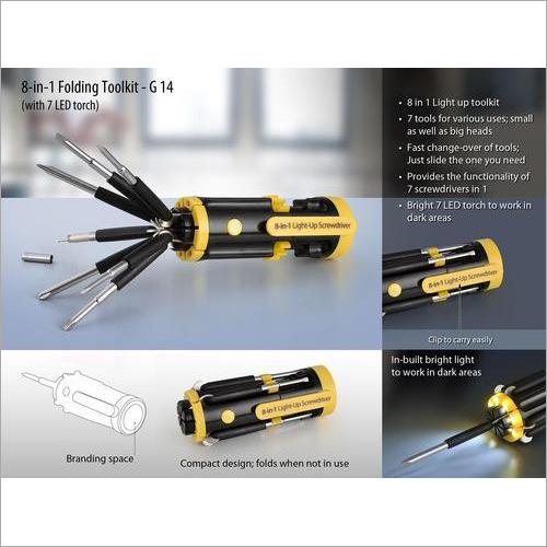 G14 – 8-in-1 Folding Toolkit (with 7 LED Torch)
