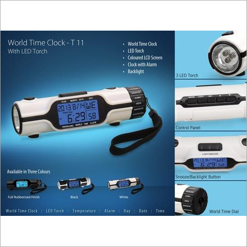 Round World Time Clock with Torch