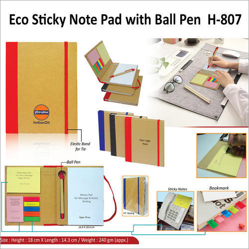 Eco Sticky Note Pad With Pen – H – 807
