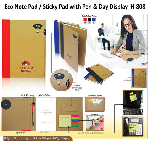 Eco Sticky Note Pad With Pen – H – 808