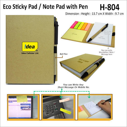 Eco Sticky Note Pad With Pen – H – 805