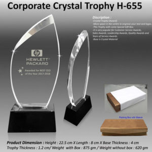 Corporate Gifting - Corporate Crystal Trophy - H - 655