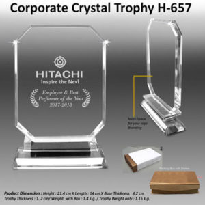 Corporate Gifting - Corporate Crystal Trophy - H - 657